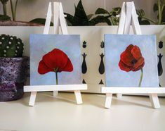 "Poppy painting. Poppies, flower paintings. Miniture dollhouse painting. This is an original poppy still life acrylic painting by Agnese Valletta. Title: Poppy. Flowers Technique: Acrylic on cardstock Size: 7,6 x 7,6 cm • 3"" X 3"" Depth: 0.2 cm • 0,07"" Year: 2014 #flowers #smallpainting #painting #poppy #flora #fiori #papaveri #quadro #dipinto #painting"