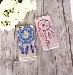 for iPhone 5 SE 6 / Plus 7 Transparent Soft Silicon Floral Paisley Flower Mandala Henna Dream Catcher Mobile Phone Bag