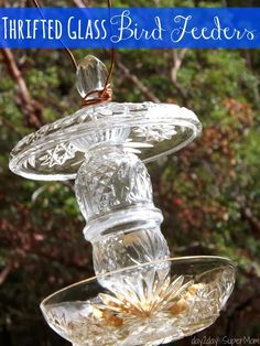 Collect a few glass pieces from thrift stores & garage sales to make your own DIY Glass Bird Feeder.