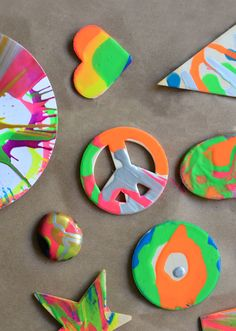 Make a Spin Art Buffet Bar - Find paper, wooden objects, etc, add to a salad spinner! Add paint (from a squeeze bottle) and spin!!