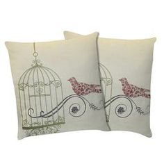 Set of two cotton pillows with birdcage design and feather down fill.  Product: Set of 2 pillowsConstruction Material: 100% Cotton cover and feather down fillColor: GreenFeatures: Inserts includedDimensions: 18 x 18 eachCleaning and Care: Spot clean