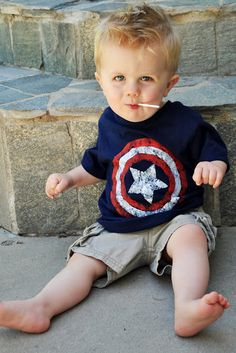 DIY Capt America Tee Shirt-also good for 4th of July