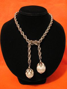 Vintage Heavy Silver Tone Rope Chain Apple Fruit Charm by ditbge, $32.00