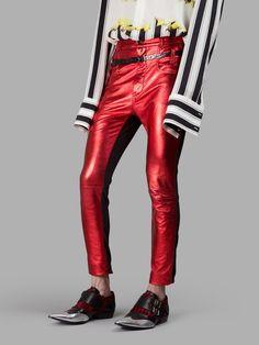 HAIDER ACKERMANN Haider Ackermann Men'S Red/Black Trousers. #haiderackermann #cloth #trousers