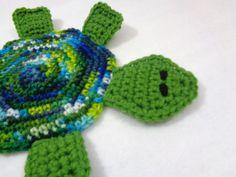 Turtle Pot Holder, Blue and Green Hot Pad, Colorful Tortoise Trivet, Crochet Gift for Mom, Home Decor, Ocean Bathroom Decor, Beach Decor by crochetedbycharlene on Etsy