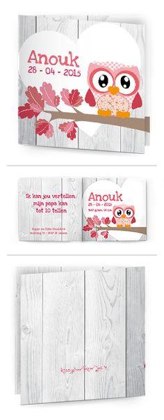 Bekijk de leukste kaartjes op onze site | http://www.kissgeboortekaartjes.nl | #baby #geboortekaartje  #kissgeboortekaartjes #uiltje #roze #meisje #boom #hartje