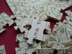 wooden puzzle thank you cards - custom made. $10.00, via Etsy.