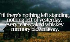'till there's nothing left standing, nothing left of yesterday. every tear soaked whiskey memory blown away