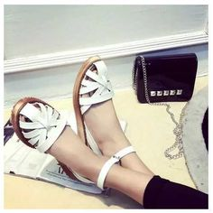 Ankle Strap Cutouts Wedges Gladiator Sandals 2015 Flat Heels Sandals