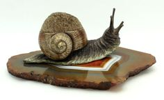 Antique Bronze Snail Pen; great paint condition!!!