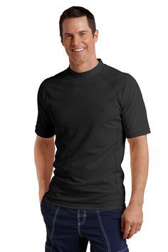 Men's Sun Protection Swim Shirt, Black - UPF 50+, Short Sleeve