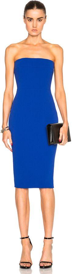 Victoria Beckham Matte Crepe Corset Fitted Dress