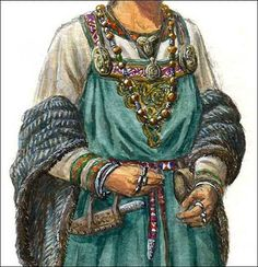 Viking Clothing - Women usually wore an under-dress, a dress and an apron.  Boots were made of leather. Women hung items from utility chains that were attached to brooches they wore at the top of their aprons, & from belts around their waists.  They wore coats & cloaks.