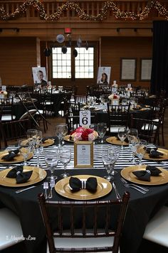 Formal+event+decor:+black+and+white+stripes+with+gold