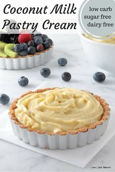 Dairy free coconut milk pastry cream is a great low carb sugar free dessert option and also suitable for keto paleo diets.