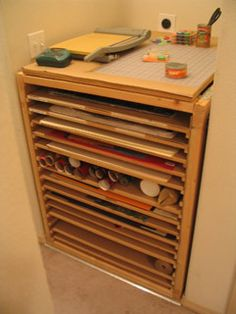 Flat file idea for puzzle storage. Art Supplies Storage, Art Storage, Craft Room Storage, Paper Storage, Puzzle Storage, Flat Files, Art Studio Organization, Art Studios, Diy Furniture