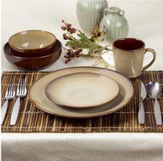 Sango 40 Piece Deluxe Nova Brown Stoneware Round Dinnerware Set Kitchen  #Sango