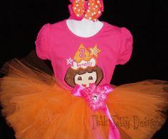 Dora Orange Birthday Tutu Set