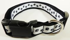 Small Black/White Paw Print Dog Collar by WildThingzPetGear on Etsy