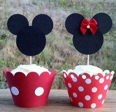 Vasos Decorativos y Topppers Minnie Mouse (Cartulinas Roja, Negra y Roja Puntos Blancos)