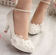 Wedding shoes for women new design ivory lace low high heels flowers pearls anklet woman bridal shoe dress proms party pumps #Affiliate