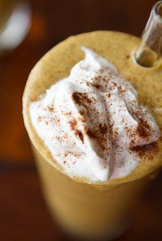 Creamy Pumpkin Pie Smoothie:    2 cups almond milk  1/2 cup rolled oats  2 tbsp chia seeds  1 cup canned pumpkin  1/2 tbsp blackstrap molasses  1 frozen ripe banana  2 tsp cinnamon  1/2 tsp ground ginger  1/4 tsp ground nutmeg  1.5-2 tbsp pure maple syrup  Coconut Whipped Cream, for garnish