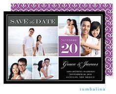 Tumbalina Block Purple Digital Photo Save The Date Card