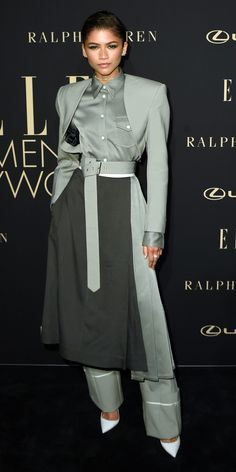 Zendaya attended the Elle Women in Hollywood event in a belted Peter Do look and white Le Silla pumps. Fashion Fail, Fashion Pants, Tokyo Fashion, Celebrity Red Carpet, Celebrity Style, Looks Rihanna, Aesthetic Fashion, Aesthetic Style, Aesthetic Gif