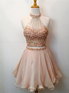2 Piece Halter Homecoming Dresses 2017,Blush Pink Short Prom Dresses,Shinny Sweet 16 Dresses,apd1832