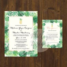Pineapple Wedding Invitation, Tropical Wedding Invitation, Beach Wedding Invite…