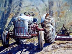 Print of Ford Tractor From Original Watercolor Art Painting.    Carolyn Watson