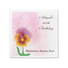 Spring flower 100th Birthday Paper Napkins Lovely yellow and orange spring flower against a soft pastel pink background. Room to customize for birthday recipient's name and city or other text. Perfect for 100 year old birthday parties - or any year!...read more