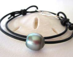 Collar de perlas de Tahití perlas por keyLimeGiraffedesign en Etsy