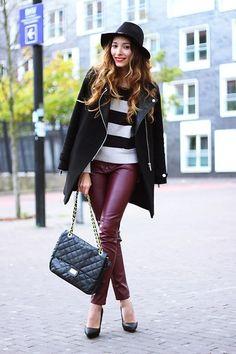 Burgundy leather pants  (by Virgit Canaz)