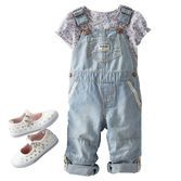 Mix and match traditional hickory stripes with a mini floral print for a new take on a classic duo. Plus, she can wear convertible overalls rolled up or down!
