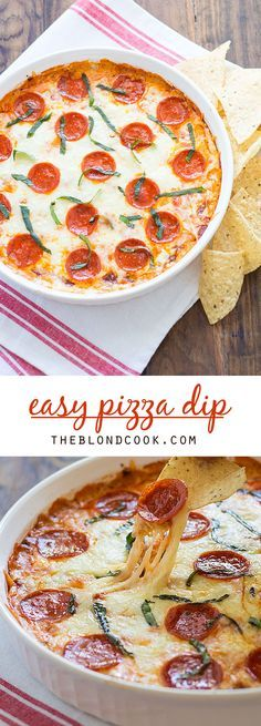 EASY Pizza Dip with cream cheese, herbs, cheeses and pepperoni.