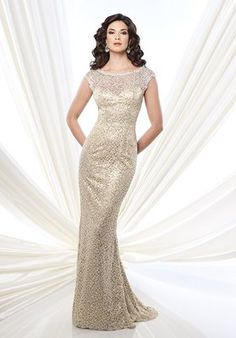 Montage by Mon Cheri - 215912 Sequined Bateau Evening Gown in Gold