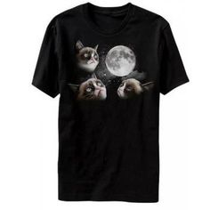 efb7e2647ca Amazon.com  Grumpy Cat - 3 Grumpy Cat Moon - T-shirt Black (Large)  Clothing