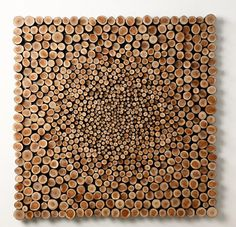 Jaehyo Lee, 0121-1110=1101011, 2010  Larch wood, 100 x 100 x 6 cm; (proud to represent this artist)