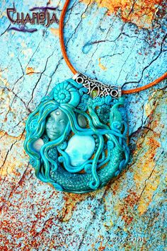 Mermaid Pendant-larimar necklace ocean love pure beauty enchanted jewelry intricate details divine feminine sea neon blue apatite shiva eye