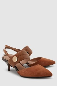 Must-have shoes for women with timeless suede & leather, while wedges make for a versatile addition. Leather Wedges, Suede Leather, Holiday Shoes, Slingbacks, Back Strap, Kitten Heels, Footwear, Hardware, Lady