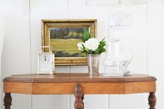 Really like the small gold framed oil painting with this table top arrangement.  A Country Farmhouse: Guest House: After Photos