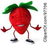 Royalty Free RF Clipart Illustration Of A 3d Strawberry Character Gesturing by Julos