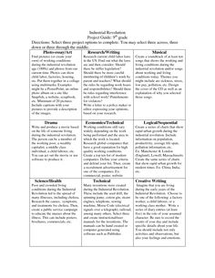 Industrial Revolution project ideas