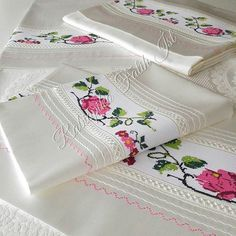 Roses on a crisp white fabric, timeless elegance. Viking Tattoo Design, Viking Tattoos, Stitch Crochet, Fitness Tattoos, Sunflower Tattoo Design, Homemade Beauty Products, Foot Tattoos, White Fabrics, Bed Covers
