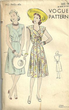 Vintage Forties Sewing Pattern from Vogue 9415