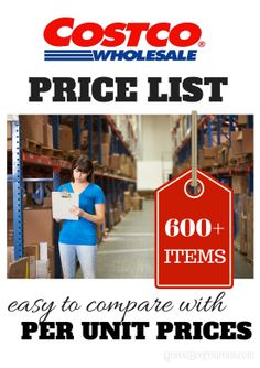 Costco Price List - Prices of items at Costco, per unit, for comparison when shopping in grocery or online.