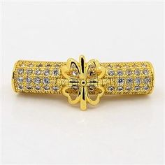 CZ Jewelry Findings Brass Micro Pave Cubic Zirconia Hollow Curved Tube Beads ZIRC-M014-01G-NR-1