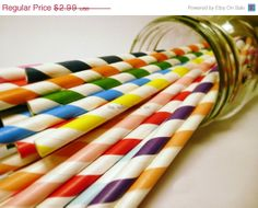 SALE Your Mix 25 Paper Straws Retro Soda Weddings Birthdays Rainbow With Printable Flags