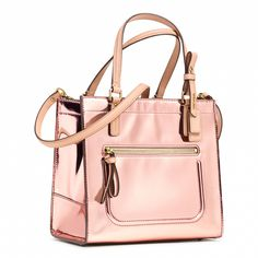 Coach :: POPPY MINI BOX TOTE IN MIRROR METALLIC LEATHER